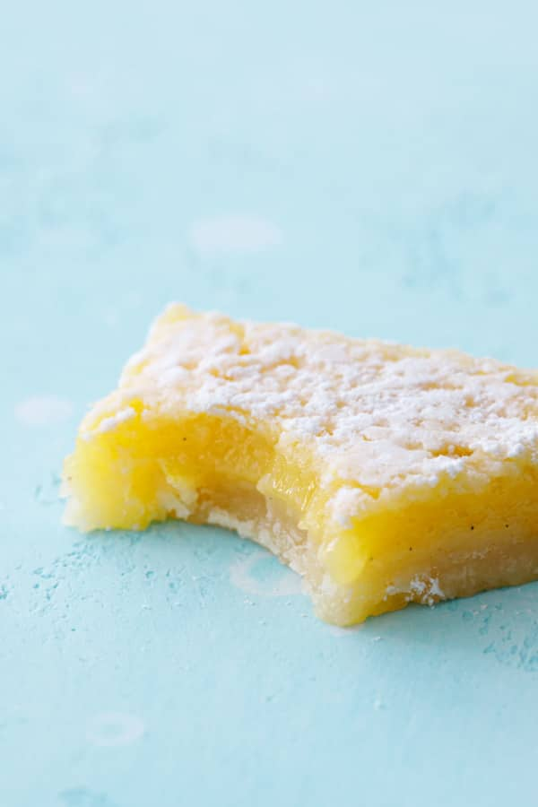 Closeup of Meyer Lemon Bar with a bite taken out of it