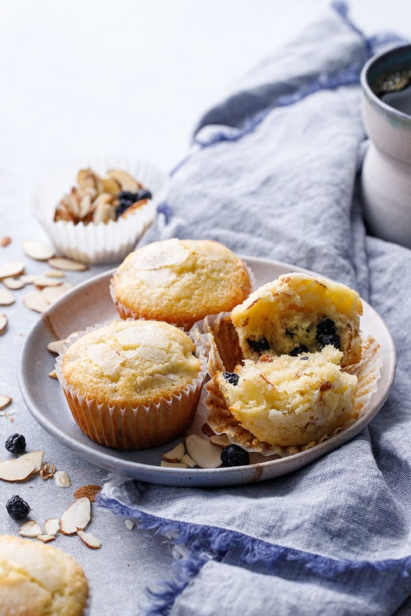Plate of Sourdough Muffins with a blue chambray napkin