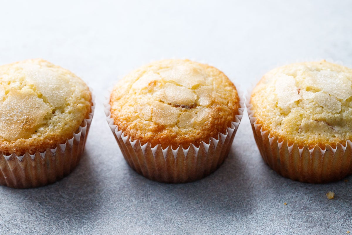 Almond Sourdough Muffins with Dried Blueberries