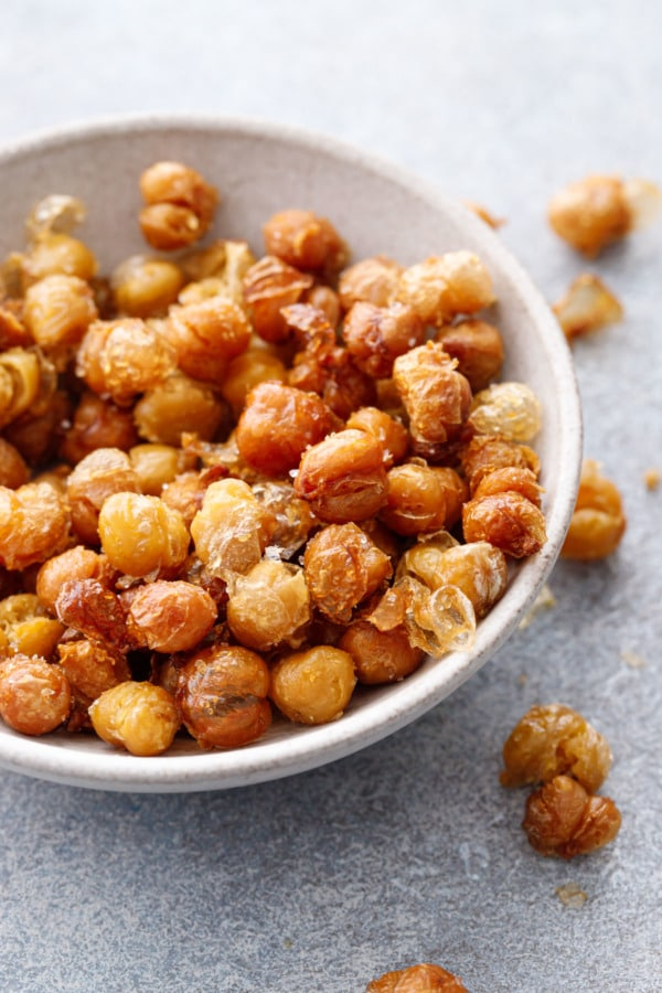Bowl of crispy fried chickpeas