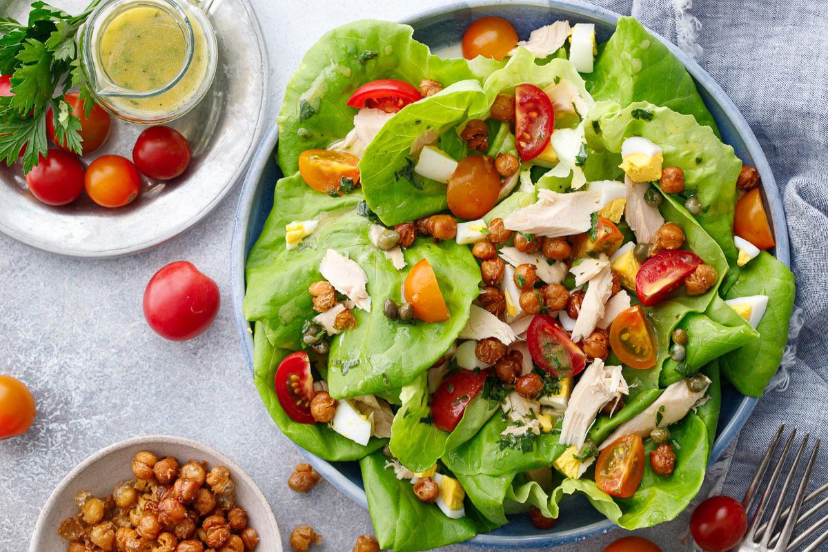 Next Level Niçoise Salad with Crispy Chickpeas and Caper Vinaigrette