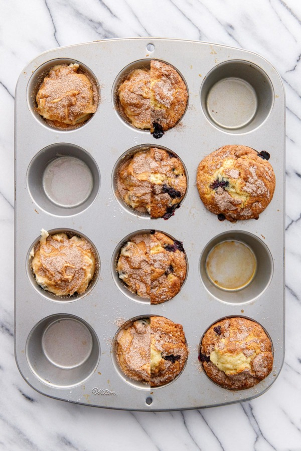 Split screen before and after baking blueberry muffins