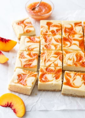 Peach Swirl Cheesecake Bars