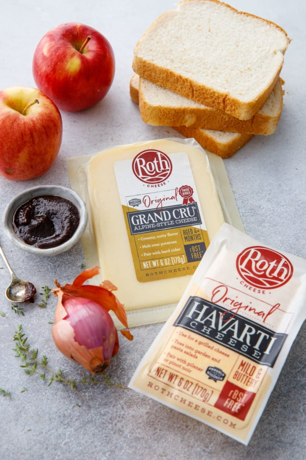 the raw ingredients to make an Apple Butter Grilled cheese, including Roth Grand Cru cheese.