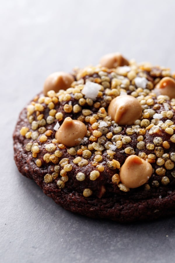 Closeup of cookie showing the texture of the puffed quinoa and sea salt on top