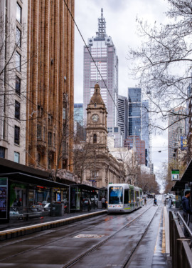 A rainy street in Melbourne, Australia with tram