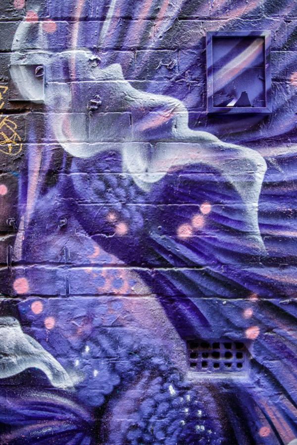 Purple graffiti art, Hoosier Lane, Melbourne, Australia