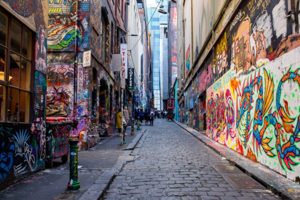 Looking up Hosier Lane with graffiti covered walls, Melbourne, Australia