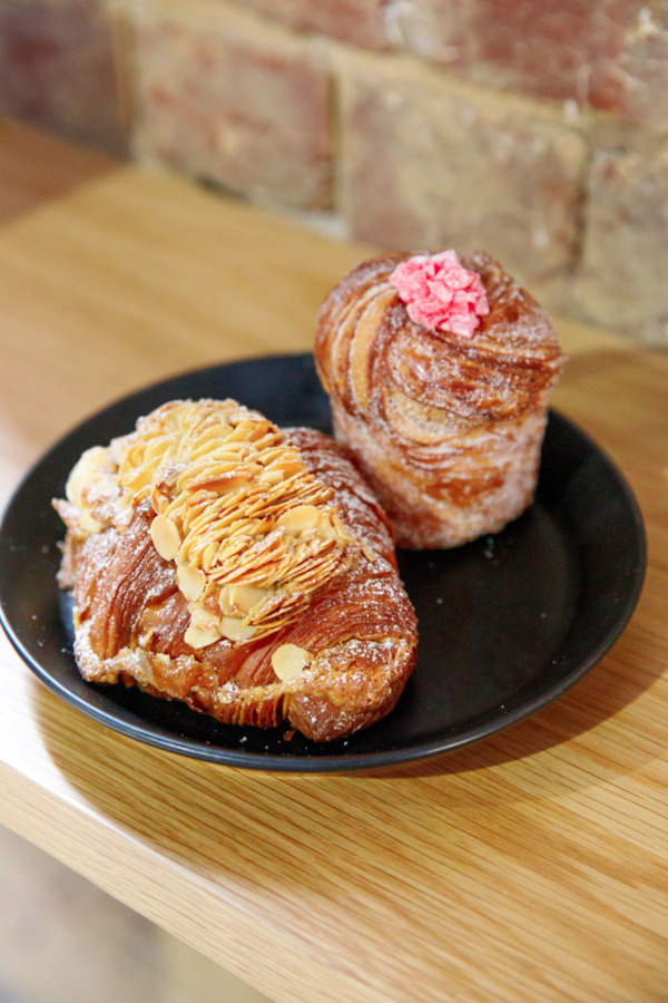 Almond croissant and lychee rose cruffin, Lune Croissanterie, Melbourne, Australia