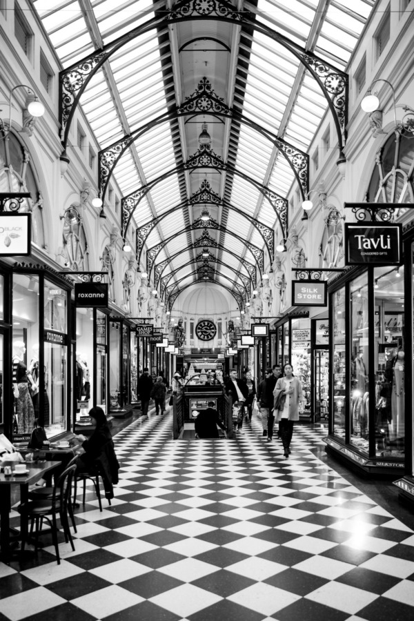Royal Arcade in Melbourne, Australia in black and white