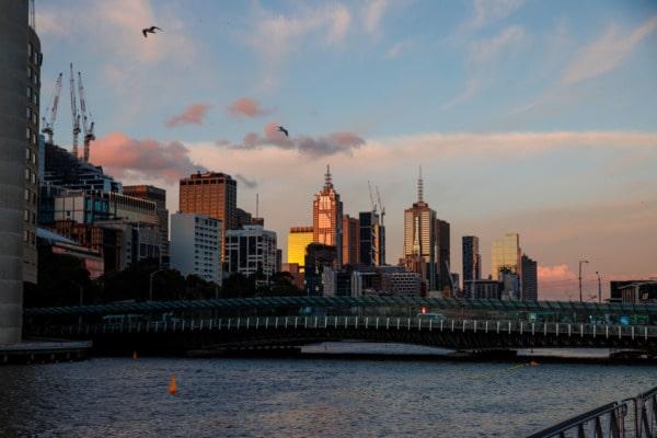 Sunset along the riverfront, Melbourne, Australia