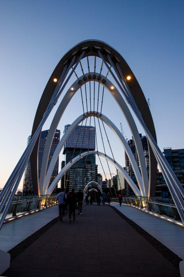 Seafarers Bridge at dusk, Melbourne, Australia