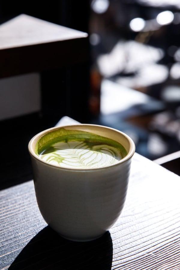 Matcha latte in the sunshine