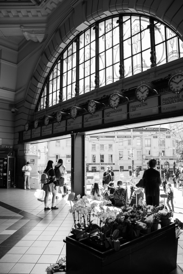 Interior of Flinders Street Station in black and white, Melbourne, Australia