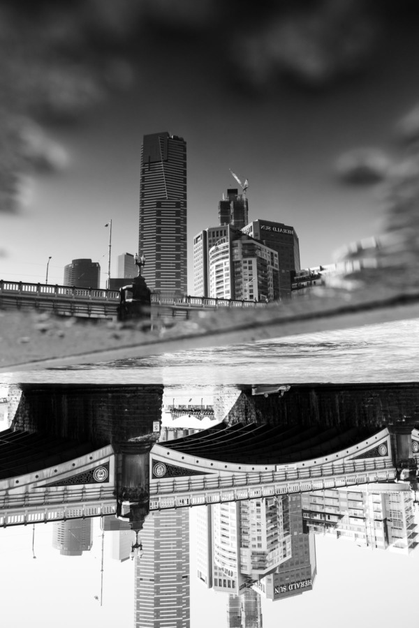 Inverted black and white reflection of downtown Melbourne, Australia