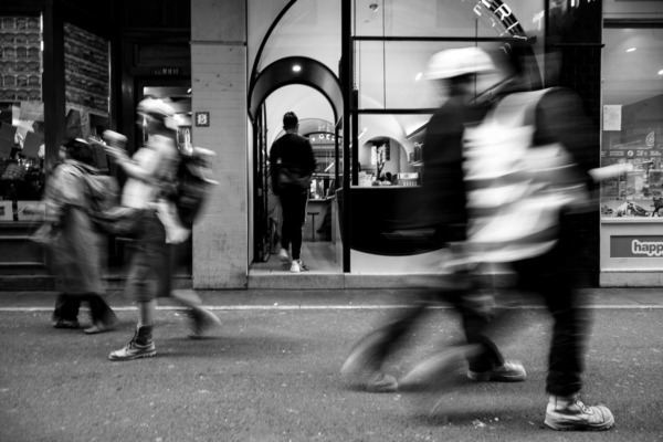 Black and white, people in motion, Melbourne, Australia street photography