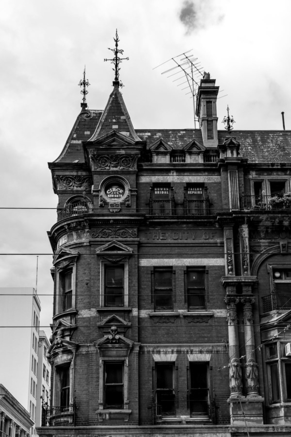Old building in Melbourne, Australia in black and white