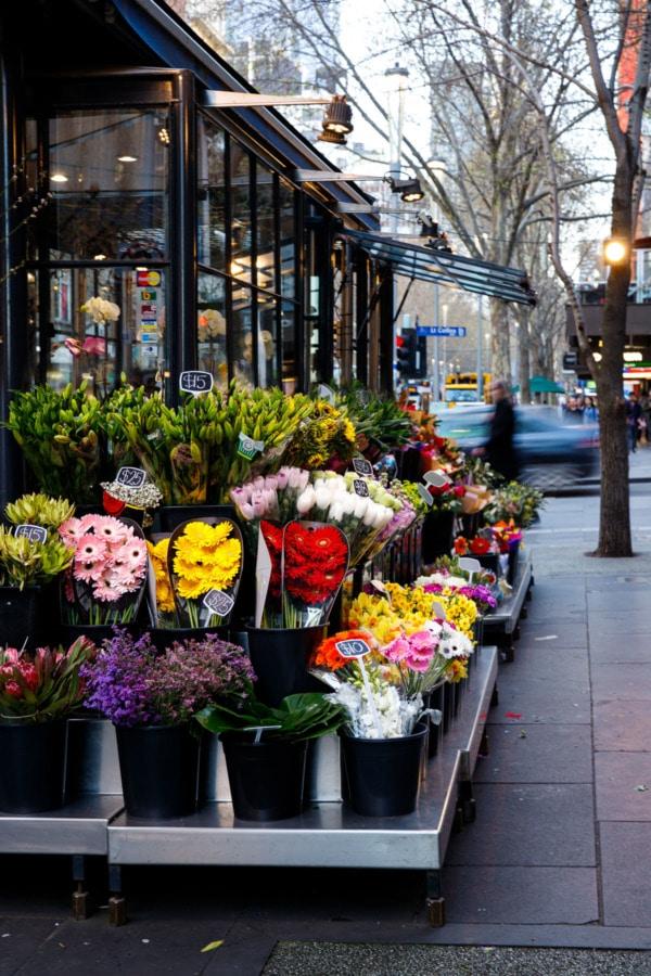 Flower stall on the street at dusk, Melbourne, Australia