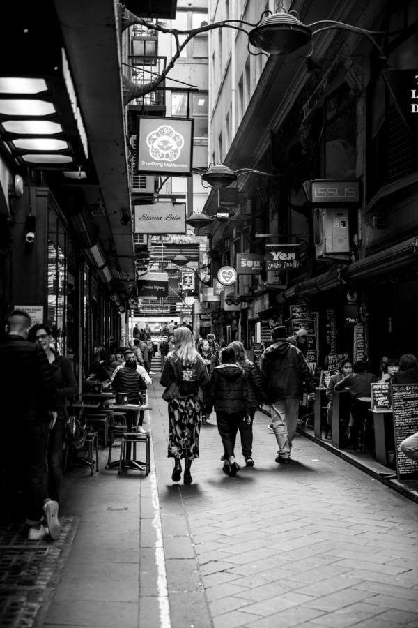 Black and white, narrow laneway in Melbourne, Australia