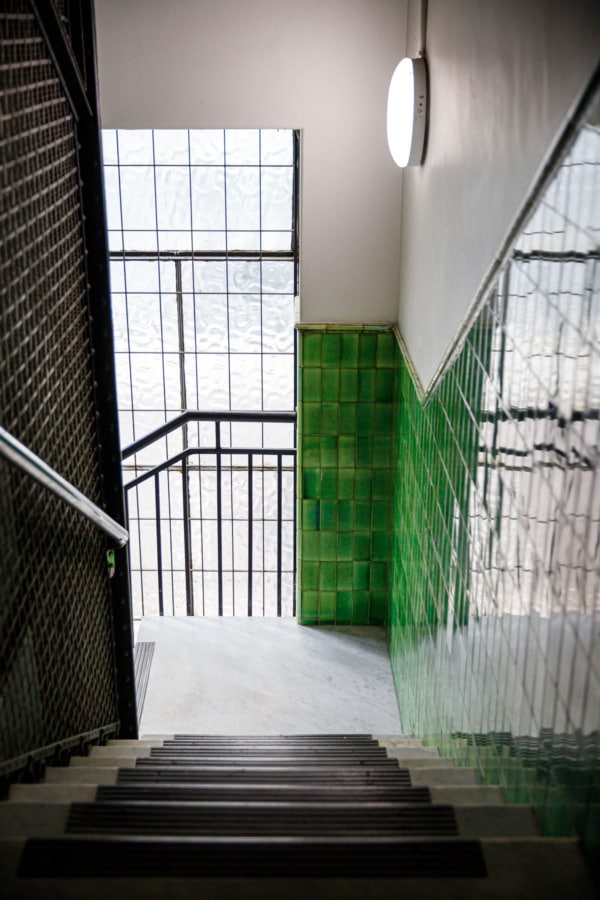 Green tiled staircase in Melbourne, Australia