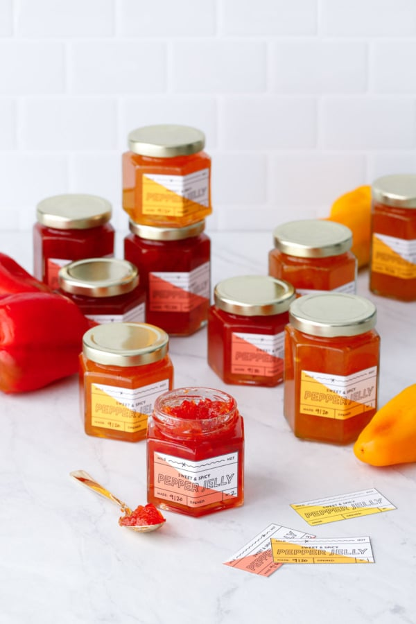 Jars of red and orange pepper jelly with printable labels