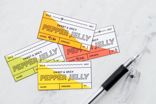 Free printable pepper jelly labels in 4 colors