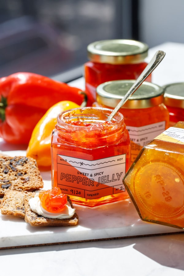 Jars of pepper jelly, showcasing the free printable label