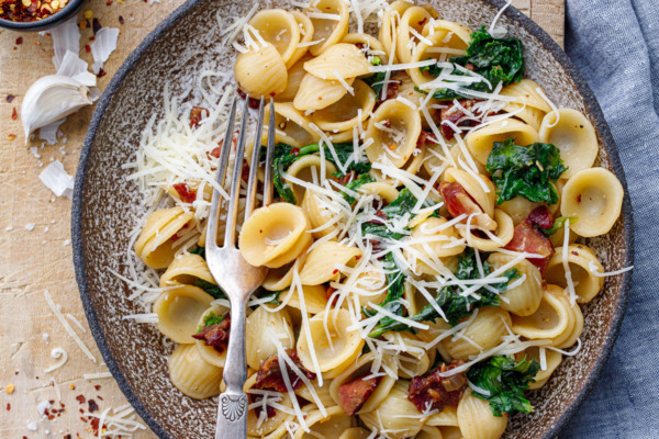 Orecchiette with Bacon and Wilted Frisée
