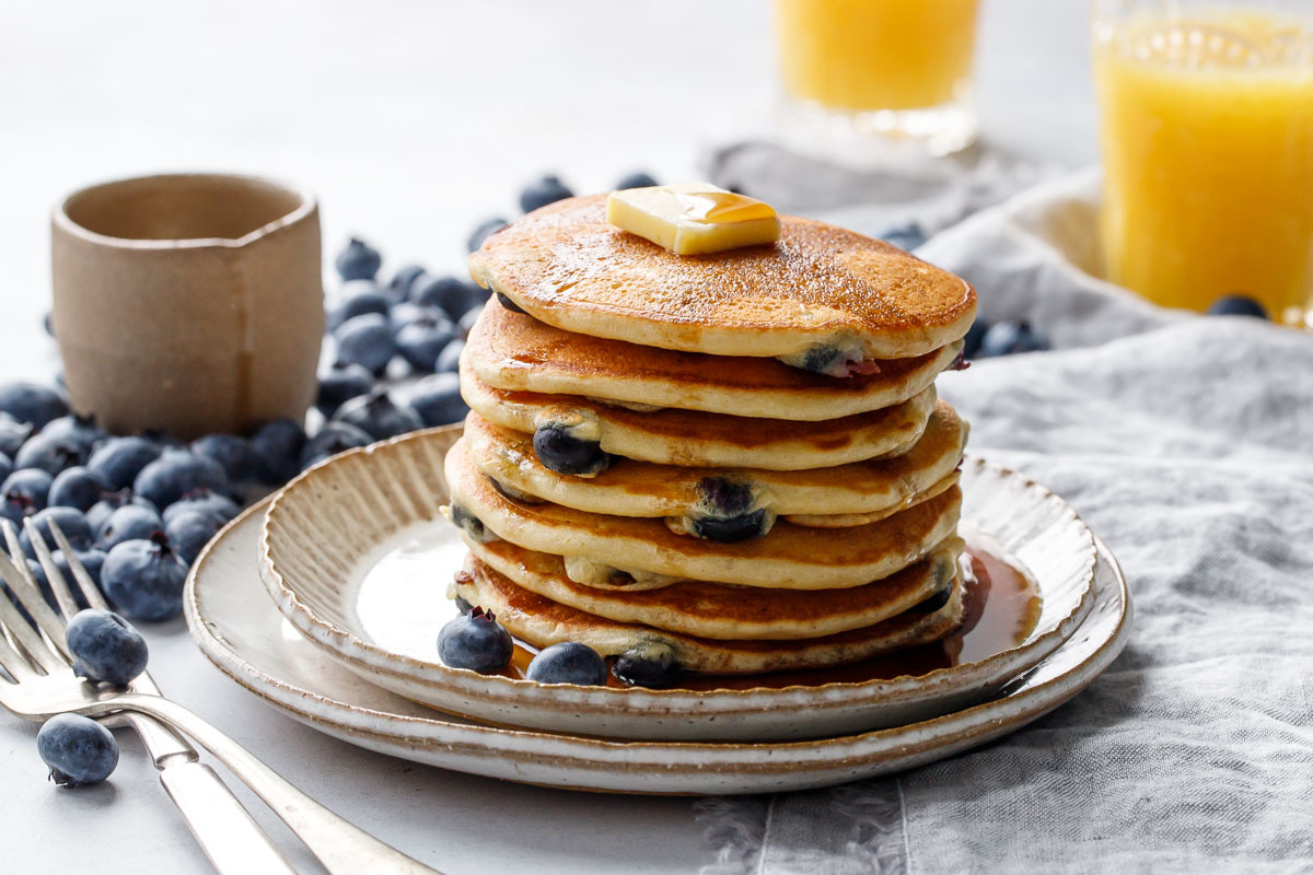 Blueberry Sourdough Pancakes