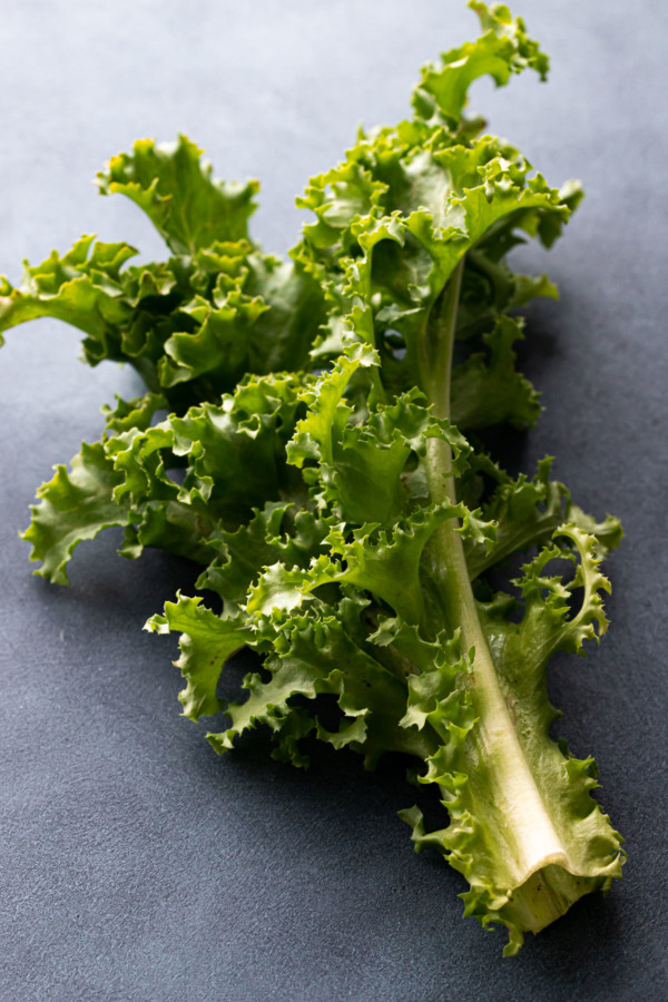 Closeup of a stalk of ruffly frisée lettuce on a dark background