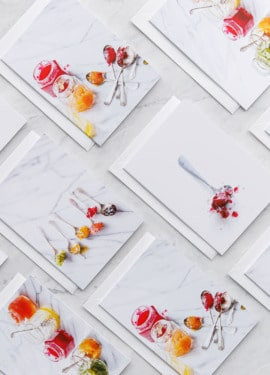 Flatlay Jam greeting cards on a marble background