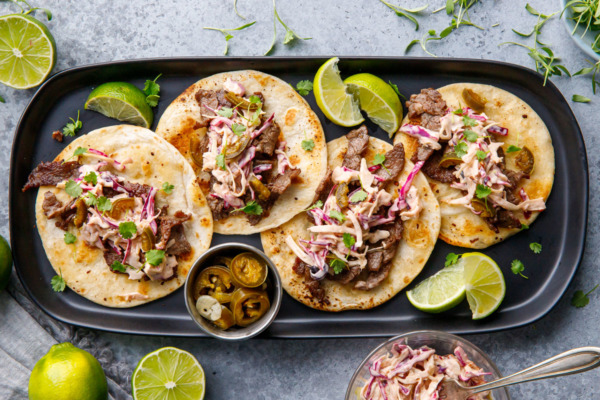 Steak Street Tacos with Chipotle Lime Coleslaw