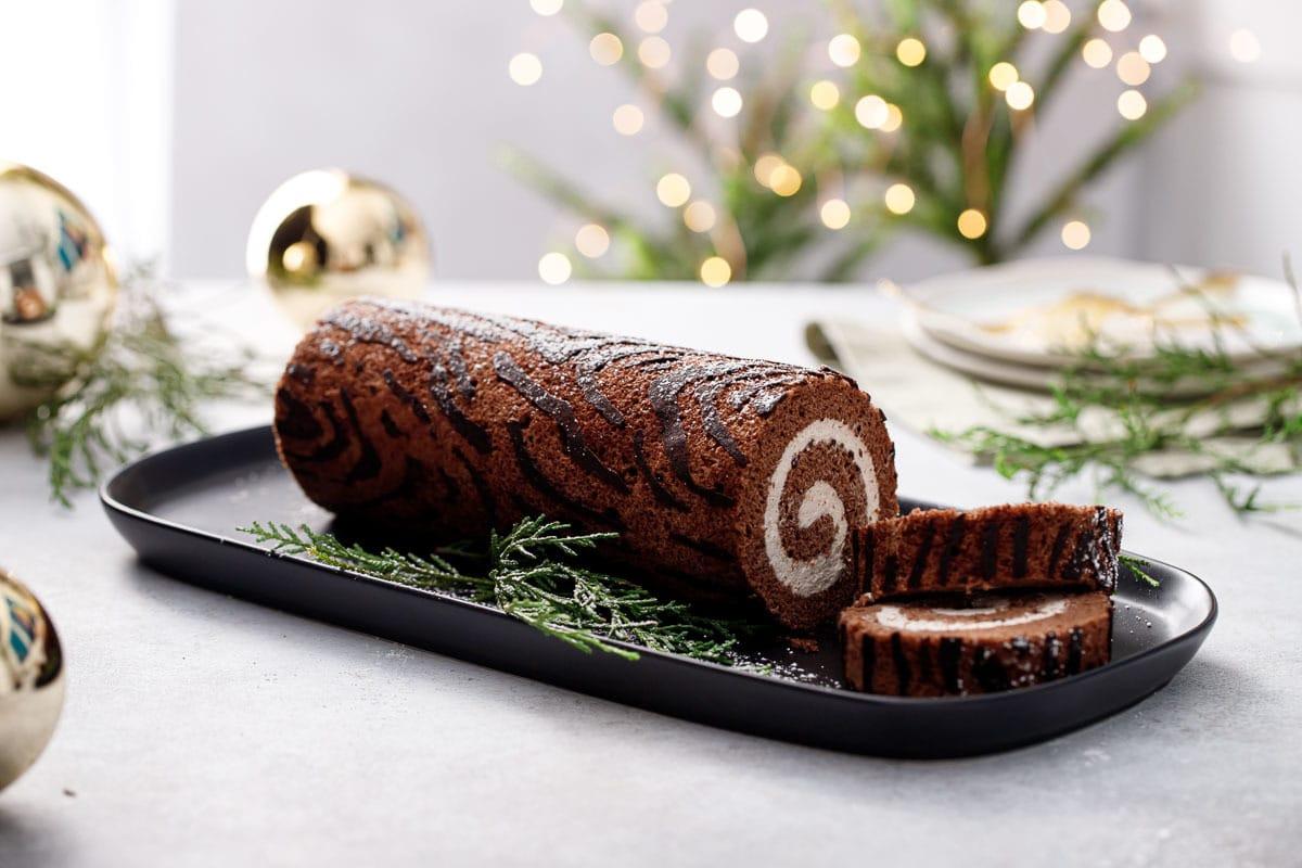 Chocolate Chestnut Christmas Roll Cake