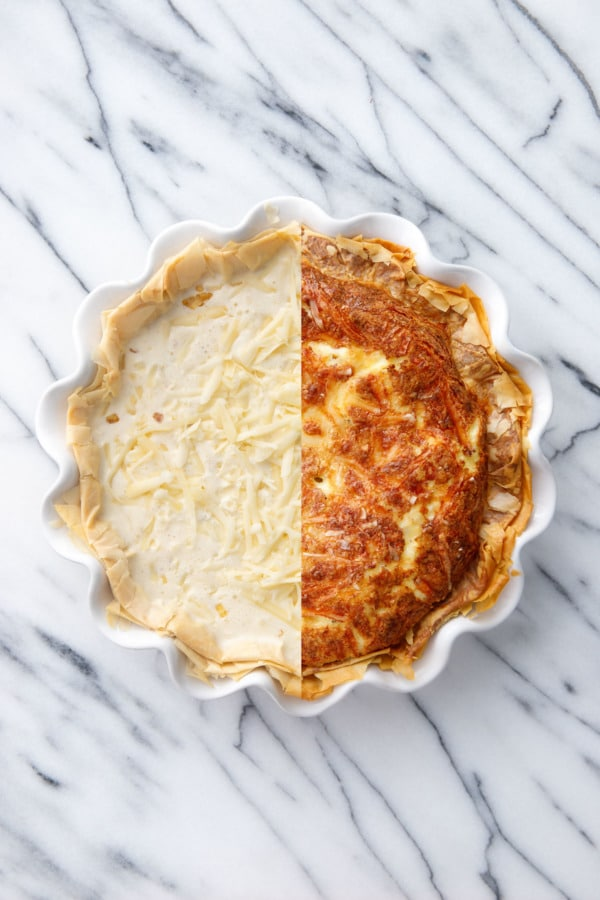 Split screen showing the quiche Before and After baking.
