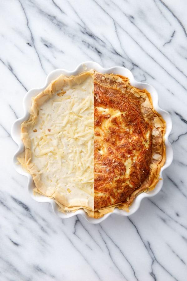 Разделенный экран, показывающий пирог с заварным кремом до и после выпечки.