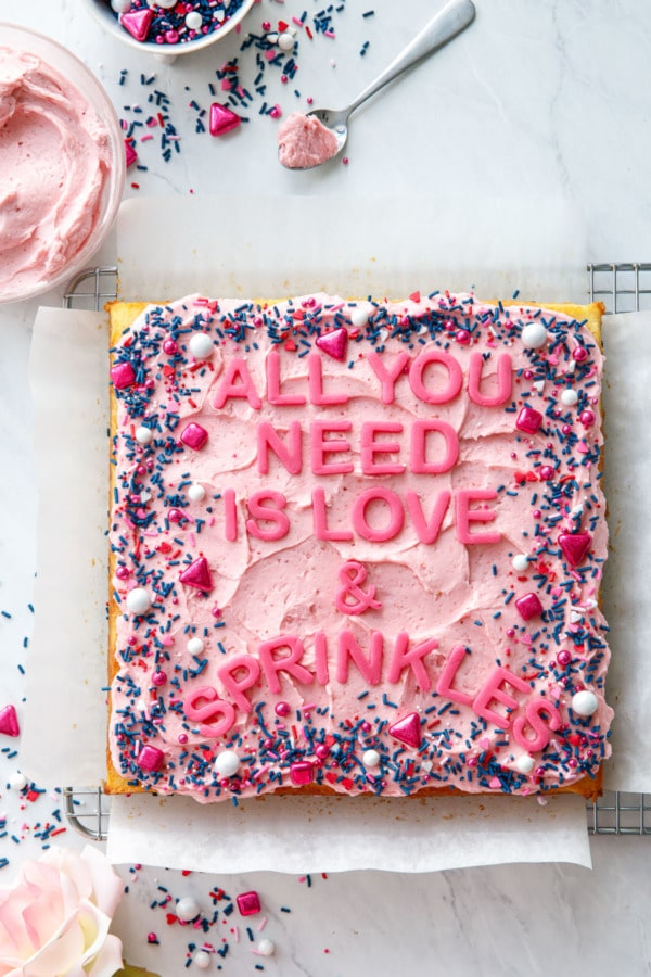 Overhead, Square cake with pink frosting and sprinkles, letters that read All You Need is Love & Sprinkles