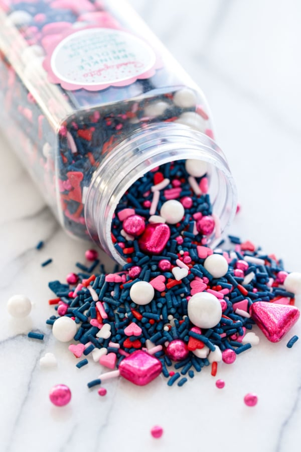 Closeup of pink and navy Valentine's sprinkles