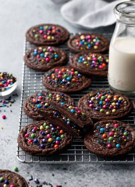 Ganache-Stuffed Cosmic Brownie Cookies