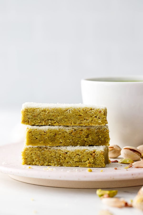 Stack of Matcha Pistachio Shortbread cookies, showing the flaky, tender texture