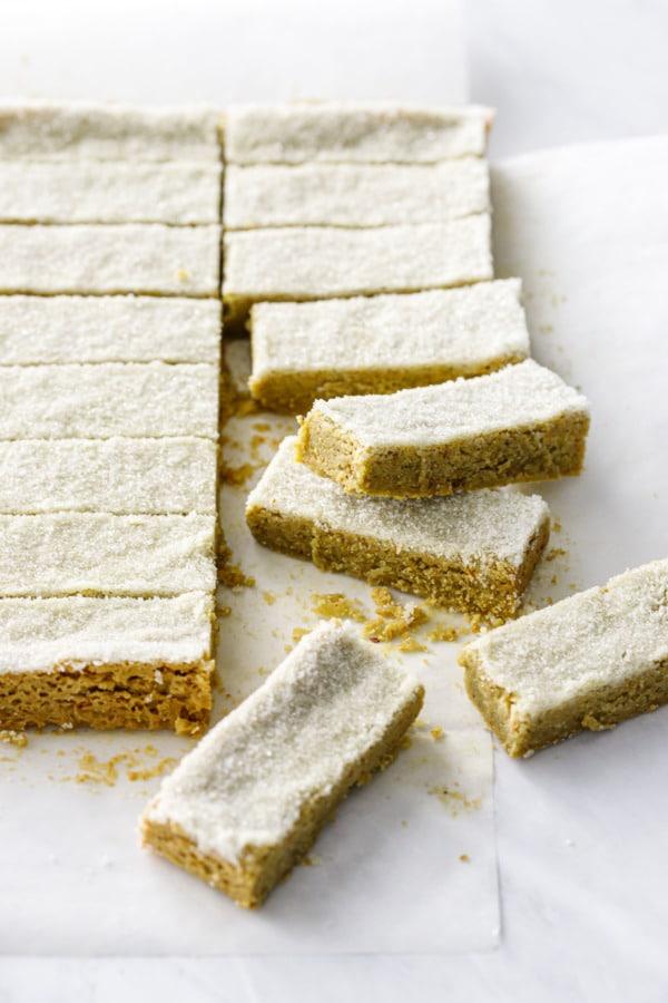 Square pan of Matcha Pistachio Shortbread, cut into finger/rectangular shapes
