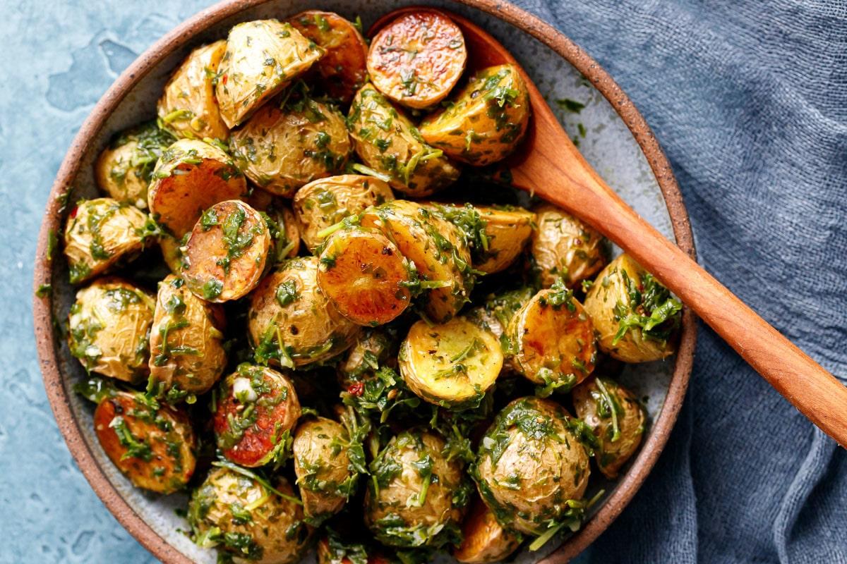 Roasted Potatoes with Arugula Chimichurri